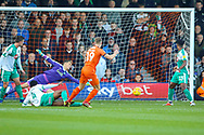 Goal Luton Town forward James Collins (19) scores the first goal during the EFL Sky Bet League 1 match between Luton Town and Plymouth Argyle at Kenilworth Road, Luton, England on 17 November 2018.