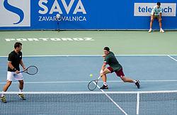 Tristan-Samuel Weissborn of Austria (L) and Lucas Miedler of Austria playing doubles final  at Day 9 of ATP Challenger Zavarovalnica Sava Slovenia Open 2019, on August 17, 2019 in Sports centre, Portoroz/Portorose, Slovenia. Photo by Vid Ponikvar / Sportida
