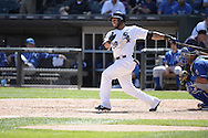 CHICAGO - JUNE 14:  Leury Garcia of the Chicago White Sox bats against the Kansas City Royals on June 14, 2014 at U.S. Cellular Field in Chicago, Illinois.   (Photo by Ron Vesely)