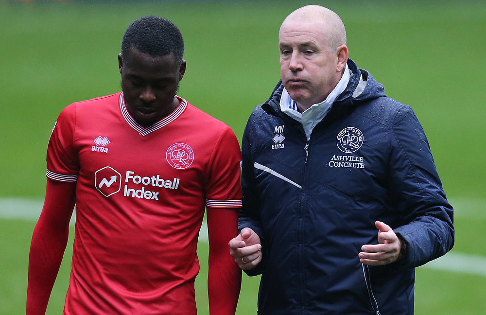 Queens Park Rangers manager Mark Warburton (right) looks relieved as he talks with Bright Osayi-Samuel at the final whistle<br /> <br /> Photographer Rich Linley/CameraSport<br /> <br /> The EFL Sky Bet Championship - Sheffield Wednesday v Queens Park Rangers - Saturday 3rd October 2020 - Hillsborough Stadium - Sheffield <br /> <br /> World Copyright © 2020 CameraSport. All rights reserved. 43 Linden Ave. Countesthorpe. Leicester. England. LE8 5PG - Tel: +44 (0) 116 277 4147 - admin@camerasport.com - www.camerasport.com