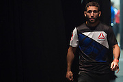 Chad Mendes waits backstage before the official UFC 189 weigh-in event at the MGM Grand Arena in Las Vegas on July 10, 2015. (Cooper Neill)