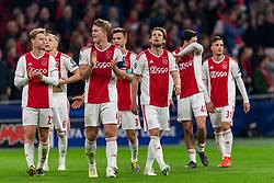 10-04-2019 NED: Champions League AFC Ajax - Juventus,  Amsterdam<br /> Round of 8, 1st leg / Ajax plays the first match 1-1 against Juventus during the UEFA Champions League first leg quarter-final football match / Daley Blind #17 of Ajax, Matthijs de Ligt #4 of Ajax, Frenkie de Jong #21 of Ajax, Donny van de Beek #6 of Ajax, Joel Veltman #3 of Ajax