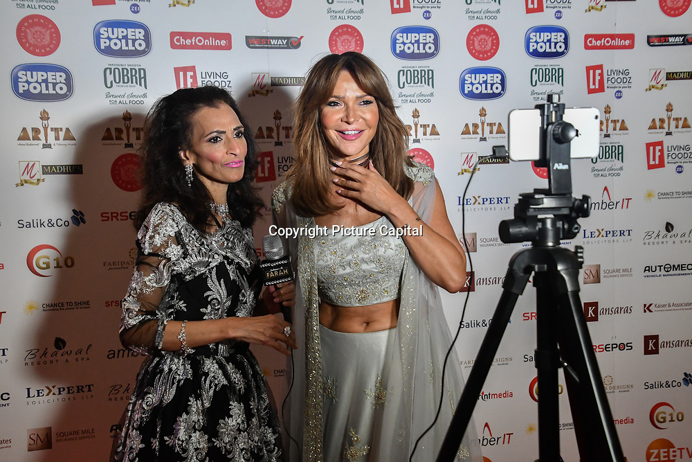 Lizzie Cundy dress in a saree interview by Farah TV attend Asian Restaurant & Takeaway Awards | ARTA 2018 at InterContinental London - The O2, London, UK. 30 September 2018.