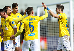 Milan Tucic of Bravo (R) and other players of Bravo celebrate after scoring second goal for Bravo during football match between NK Bravo and NK Domzale in 28th Round of Prva liga Telekom Slovenije 2020/21, on April 17, 2021 in Sports park ZAK, Ljubljana, Slovenia. Photo by Vid Ponikvar / Sportida