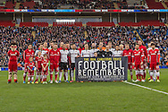 The two teams pose for photographs before k/o  in commemoration of the 1914 World War One Truce. Skybet football league championship match, Cardiff city v Rotherham Utd at the Cardiff city stadium in Cardiff, South Wales on Saturday 6th December 2014<br /> pic by Mark Hawkins, Andrew Orchard sports photography.