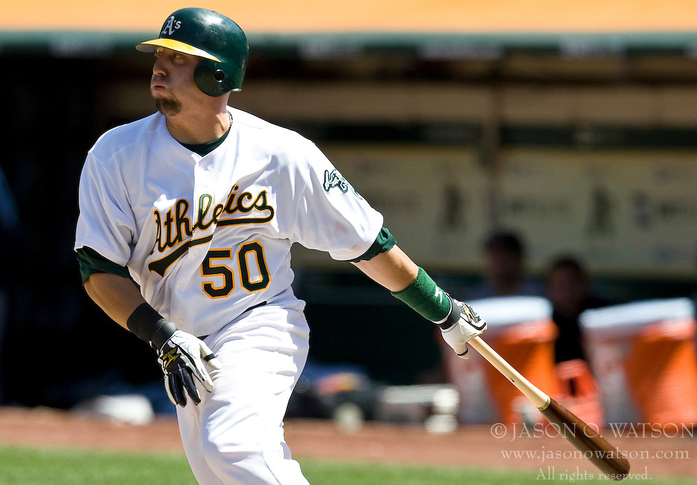 April 24, 2010; Oakland, CA, USA;  Oakland Athletics designated hitter Jake Fox (50) during the seventh inning against the Cleveland Indians at Oakland-Alameda County Coliseum.  Cleveland defeated Oakland 6-1.