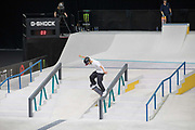 Sora Shirai, Japan, during the men's quarter finals of the Street League Skateboarding World Tour Event at Queen Elizabeth Olympic Park on 25th May 2019 in London in the United Kingdom. The SLS World Tour Event will take place at the Copper Box Arena during the 25-26 May, 2019.