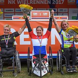 18-06-2017: Wielrennen: NK Paracycling: Montferland<br /> s-Heerenberg (NED) wielrennen Podium vrouwen H1-5/0, Laura de Vaan, Jennette Jansen en Petra Garnier
