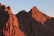 Warming evening light strikes upon Sunlight Peaks northern face.