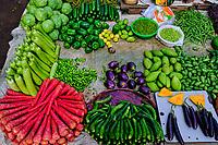 Inde, Etat de Gujarat, Ahmedabad, classé Patrimoine Mondial de l'UNESCO, marché aux fruits et légumes // India, Gujarat, Ahmedabad, Unesco World Heritage city, fruit and vegetable market