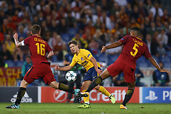 September 12, 2017 - Rome, Italy - Luciano Vietto of Atletico in action between Daniele De Rossi of Roma and Juan Jesus of Roma during the UEFA Champions League Group C football match between AS Roma and Atletico Madrid on September 12, 2017 at the Olympic stadium in Rome, Italy. (Credit Image: © Matteo Ciambelli/NurPhoto via ZUMA Press)