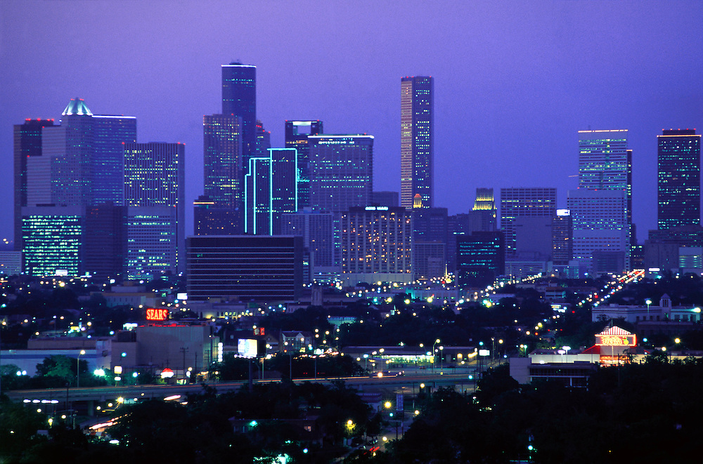 Houston, Texas skyline with city lights at night.