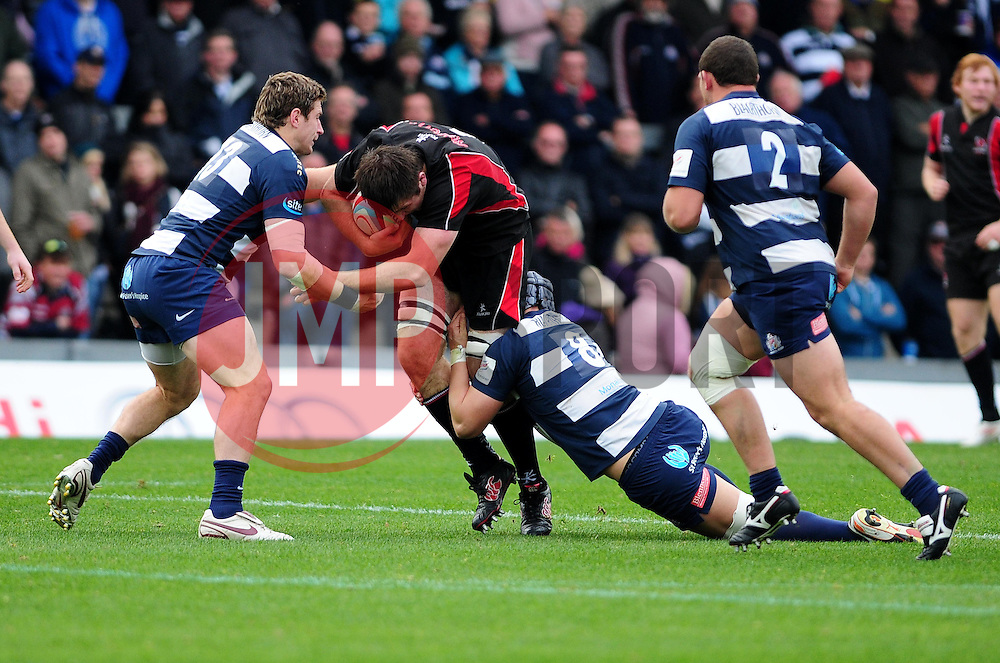 Bristol Rugby's Luke Eves and Bristol Rugby's Mitch Eadie takle Ulster Ravens' Alan O'Connor - Photo mandatory by-line: Dougie Allward/JMP  - Tel: Mobile:07966 386802 21/10/2012 - SPORT - Rugby Union - British and Irish Cup -  Bristol  - The Memorial Stadium - Bristol Rugby V Ulster Ravens