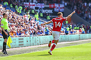 CELE Bristol City's Andreas Weimann (14) celebrates scoring his side's first goal during the EFL Sky Bet Championship match between Cardiff City and Bristol City at the Cardiff City Stadium, Cardiff, Wales on 28 August 2021.