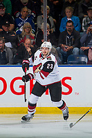 KELOWNA, BC - SEPTEMBER 29:  Oliver Ekman-Larsson #23 of the Arizona Coyotes makes a pass against the Vancouver Canucks at Prospera Place on September 29, 2018 in Kelowna, Canada. (Photo by Marissa Baecker/NHLI via Getty Images)  *** Local Caption *** Oliver Ekman-Larsson