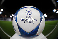 Official UEFA Champions League match ball on display on the pitch before k/o. UEFA Champions league group G match, Chelsea v Porto at Stamford Bridge in London on Wednesday 9th December 2015.<br /> pic by John Patrick Fletcher, Andrew Orchard sports photography.