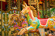 Colourful painted fairground horses on the South Bank, London