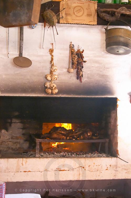 The barbecue grill where the meat is being prepared. Bodega Pisano Winery, Progreso, Uruguay, South America