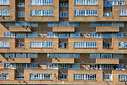 The facade of Dawson's Heights, Dulwich, London, United Kingdom. Built between 1968 and 1972, Dawson's Heights was designed by Kate Macintosh as part of the social housing project to clear out London's slums. It is known as the 'Italian hill town in Dulwich.