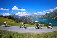 The Sky team in the chase on the front runners with Wout Poels (NED) in the lead and with Chris Froome (GBR) in the descent of Col du Pre during the 105th Tour de France 2018, Stage 11, Alberville - La Rosiere Espace Bernardo (108,5 km) on July 18th, 2018 - Photo George Deswijzen / Pro Shots / ProSportsImages / DPPI