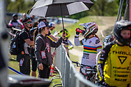 #1 (POST Alise) USA during practice of Round 3 at the 2018 UCI BMX Superscross World Cup in Papendal, The Netherlands
