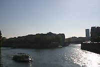 Ferry boat on River Seine, Paris, France<br />