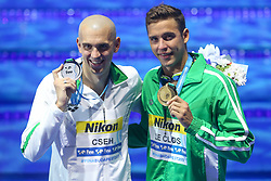 July 26, 2017 - Budapest, Hungary - Cahd Le Clos (RSA) Gold Medal and Laszlo Cseh (HUN) Silver medal on Men's 200 m Butterfly final during the 17th FINA World Championships, at Duna Arena, in Budapest, Hungary, Day 13, on July 26th, 2017, (Credit Image: © Foto Olimpik/NurPhoto via ZUMA Press)
