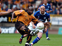 Fotball<br /> Foto: Fotosports/Digitalsport<br /> NORWAY ONLY<br /> <br /> Date: 28/08/2004<br /> <br /> WOLVERHAMPTON WANDERERS v LEICESTER CITY <br /> <br /> COCA COLA CHAMPIONSHIP <br /> <br /> SHAUN NEWTON WOLVES & DANNY TIATTO LEICESTER