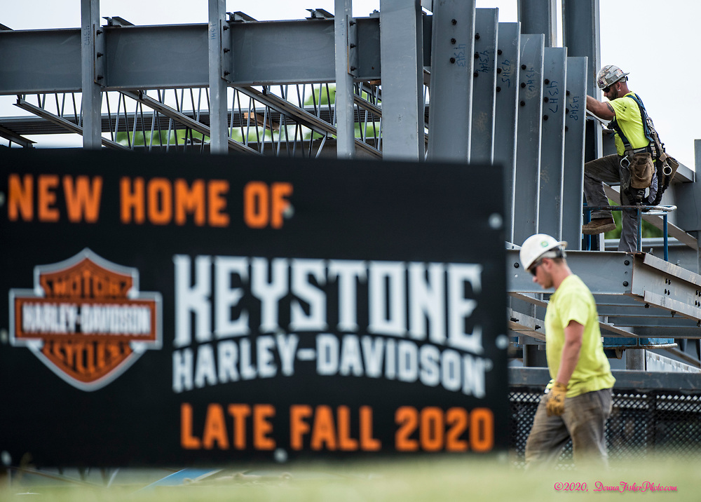 Work continues on construction of the new Keystone Harley-Davidson property at Jesse Reed Way and Eberhart Road, just off MacArthur Road. Scenes along MacArthur Road in Whitehall Township, Lehigh County, Pa.. Picture made June, 2020.<br />  Donna Fisher Photography, LLC