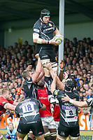 Rugby Union - 2016 / 2017 Aviva Premiership - Semi-Final: Exeter Chiefs vs. Saracens<br /> <br />  Thomas Waldrom Exeter Chiefs leaps to catch the ball at a lineout, at Sandy Park.<br /> <br /> COLORSPORT/WINSTON BYNORTH