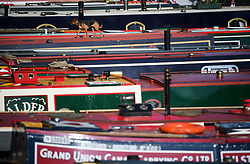 © Licensed to London News Pictures. 04/05/2019. London, UK. A dog walks on the roof of a canal boat during the Canalway Cavalcade festival in Little Venice, West London on Saturday, May 4th 2019. Inland Waterways Association's annual gathering of canal boats brings around 130 decorated boats together in Little Venice's canals on May bank holiday weekend. Photo credit: Ben Cawthra/LNP