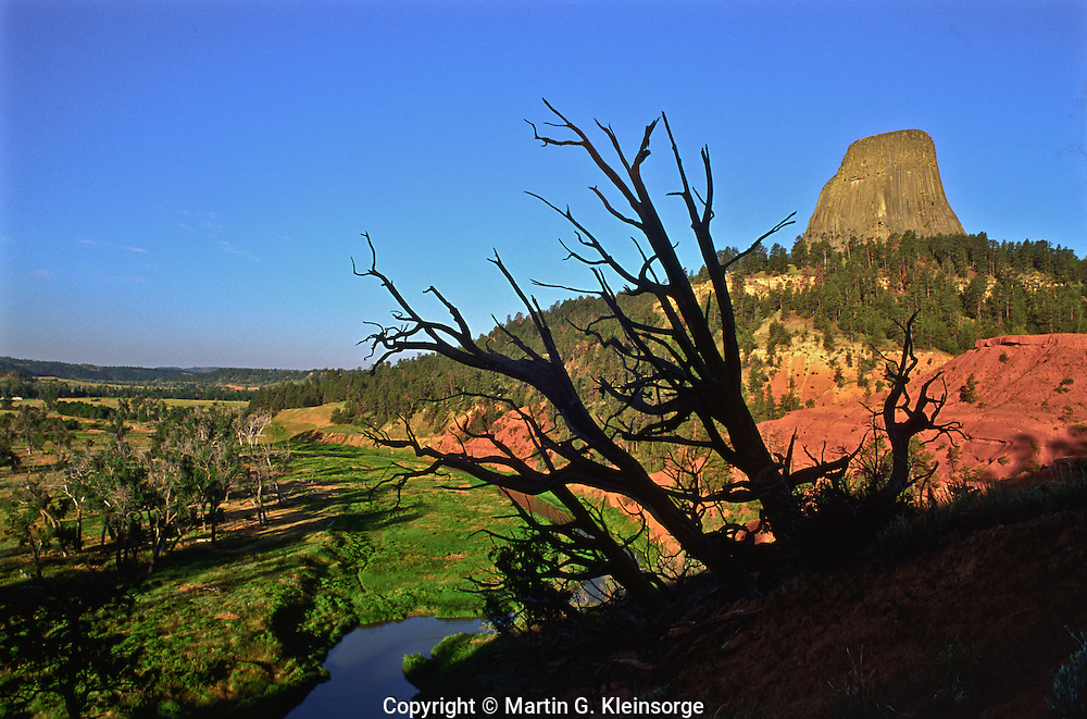 East side of Devils Tower along the red sandstone cliffs above the Belle Fourche River.  The tower rises 867 ft. above its base and 1,267 ft. above the river.  Devils Tower National Monument, Wyoming.