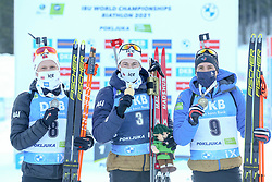 Second placed Johannes Dale of Norway, winner  Sturla Holm Laegreid and third placed Quentin Fillon Maillet of France celebrate with medals during the IBU World Championships Biathlon 15 km Mass start Men competition on February 21, 2021 in Pokljuka, Slovenia. Photo by Vid Ponikvar / Sportida