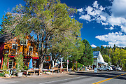 Shops and galleries on main street, Markleeville, California USA