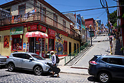 Streets with graffiti in Valparaíso, Chile