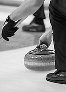 """Glasgow. SCOTLAND. """"The Grip, on the Stone"""" befor release"""" Round Robin"""" Game.  Scotland vs Italy at the Le Gruyère European Curling Championships. 2016 Venue, Braehead  Scotland<br /> Wednesday  23/11/2016<br /> <br /> [Mandatory Credit; Peter Spurrier/Intersport-images]"""