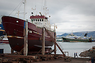 Icelandic fishing boats being repaired in Reykjavik harbour, Iceland.