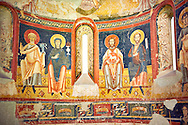 The Romanesque Apse of Bugal. Late XI - XII century, fresco transplanted to canvas from the Churches of the old St. Peter's Monastery Burgal, La Guingueta, Spain. National Art Museum of Catalonia, Barcelona. MNAC 113138 .<br /> <br /> If you prefer you can also buy from our ALAMY PHOTO LIBRARY  Collection visit : https://www.alamy.com/portfolio/paul-williams-funkystock/romanesque-art-antiquities.html<br /> Type -     MNAC     - into the LOWER SEARCH WITHIN GALLERY box. Refine search by adding background colour, place, subject etc<br /> <br /> Visit our ROMANESQUE ART PHOTO COLLECTION for more   photos  to download or buy as prints https://funkystock.photoshelter.com/gallery-collection/Medieval-Romanesque-Art-Antiquities-Historic-Sites-Pictures-Images-of/C0000uYGQT94tY_Y