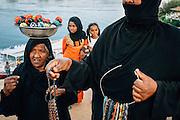 Old nubian women trying to sell their artifacts in the Nubian market in Gharb Seheil