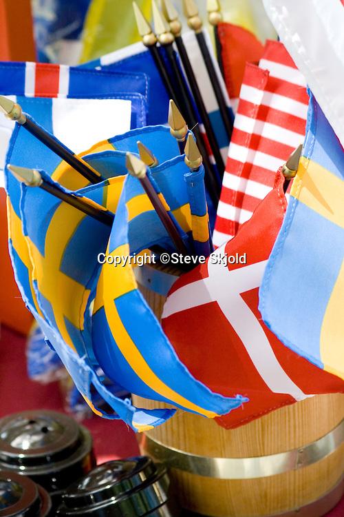 Flags of Sweden, Iceland, Denmark and America. Svenskarnas Dag Swedish Heritage Day Minnehaha Park Minneapolis Minnesota USA