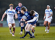 Bath Rugby's lock Mike Williams tackles Sale Sharks full back Simon Hammersley during a Gallagher Premiership Round 9 Rugby Union match, Friday, Feb 12, 2021, in Leicester, United Kingdom. (Steve Flynn/Image of Sport)