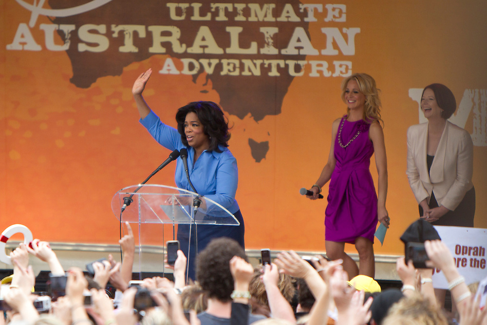 Oprah Winfrey addresses the crowd of 12,000 people gathered for a public event at Federation Square on December 10, 2010 in Melbourne, Australia. Oprah Winfrey is in Australia with 302 audience members from the US, Canada and Jamaica and will tape episodes of the 25th and final season of 'The Oprah Winfrey Show' from the Sydney Opera house next week. The shows will air in the US and Australia in January 2011.