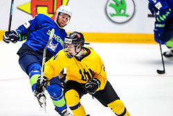 Patrik Misiuk of Lithuania vs Robert Sabolic of Slovenia during ice hockey match between Slovenia and Lithuania at IIHF World Championship DIV. I Group A Kazakhstan 2019, on May 5, 2019 in Barys Arena, Nur-Sultan, Kazakhstan. Photo by Matic Klansek Velej / Sportida