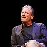 Director Jon Stewart is seen onstage as he speaks at the Berkeley Repertory Theatre about his new film Rosewater, on Tuesday, Oct 21, 2004. (Photo/Alex Menendez/ UC Berkeley Graduate School of Journalism)
