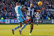 Duckens Nazon of St Mirren wins the ball ahead of Genseric Kusunga of Dundee FC during the Ladbrokes Scottish Premiership match between St Mirren and Dundee at the Paisley 2021 Stadium, St Mirren, Scotland on 30 March 2019.