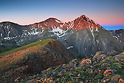 First light strikes Grays Peak 14,270ft and Torreys Peak 14,267ft, the only two fourteener peaks that lie on the Continental Divide.