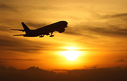 """Embargoed to 0001 Saturday July 1 File photo dated 19/11/08 of a plane taking off at sunset. Two-thirds of families felt """"ripped off"""" during their last overseas holiday, a survey has found."""