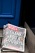 "The last ever copies of tabliod newspaper News of The World land on the doorstep. Sunday 10th July 2011 saw the end for this most famous of newspapers. Embroiled in the phone hacking scandal, this News International paper had approximately 7 million readers at the time of it's demise. On the cover of this, the final edition, with examples of previous journalistic success the headline simply read ""Thank You & Goodbye""."