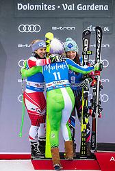 19.12.2018, Saslong, St. Christina, ITA, FIS Weltcup Ski Alpin, SuperG, Damen, Flower Zeremonie, im Bild v.l. Nicole Schmidhofer (AUT, 2. Platz), Ilka Stuhec (SLO, 1. Platz), Tina Weirather (LIE, 2. Platz) // f.l. second placed Nicole Schmidhofer of Austria race winner Ilka Stuhec of Slovenia second placed Tina Weirather of Liechtenstein during the Flowers ceremony for the ladie's Super-G of FIS Ski Alpine World Cup at the Saslong in St. Christina, Italy on 2018/12/19. EXPA Pictures © 2018, PhotoCredit: EXPA/ Johann Groder