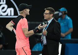 MELBOURNE, Jan. 25, 2018  Kyle Edmund (L) of Britain argues with Grand Slam supervisor Andreas Egli during the men's singles semifinal match against Marin Cilic of Croatia at Australian Open 2018 in Melbourne, Australia, Jan. 25, 2018. Edmund lost 0-3. (Credit Image: © Zhu Hongye/Xinhua via ZUMA Wire)